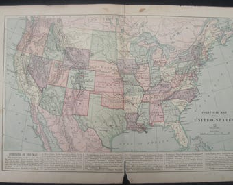 1882-United States Political, Antique Map- Lovely 135 year old, vintage map of United States- Home Décor