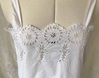 Vintage Antique late Victorian/ Edwardian 100% cotton chemise/ under-dress. Late 19th/ early 20th Century #9