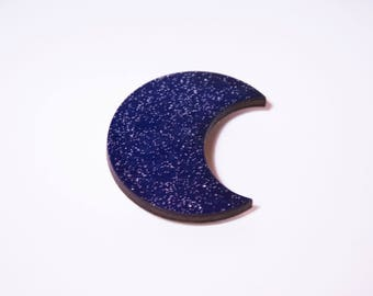 Brooch blue Moonstone and silver glitter