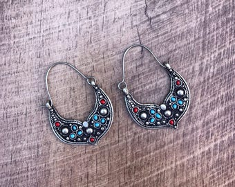 Afghan Vintage Earrings, big tribal earrings, hoop earrings, tribal jewelry, turquoise hoop earrings, boho gypsy jewelry, bohemian earrings
