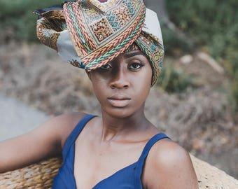 Alika Gray and Maroon Ankara Satin Lined Headwrap.. African Head Wrap, Turban, Natural Hair Head Wrap, Head Tie
