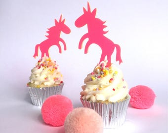 6 x Unicorn laser cut fluro pink mini cupcake toppers