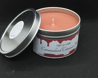 Caramelized Crimson Pear 8oz soy candle/scented candle, pear scented candle, fruit candle, food.