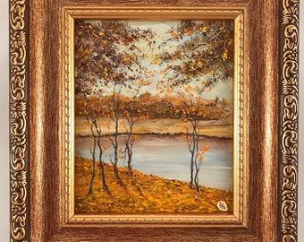 Autumn: Small oil painting, original, handpainted from Kiev, Ukraine