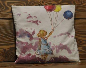 Pillow case-Unique- Handpainted/Handmade-cotton 40x40cm 16x16 inches handmade