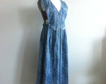 1980 Jessica Stone wash jeans dress with open side