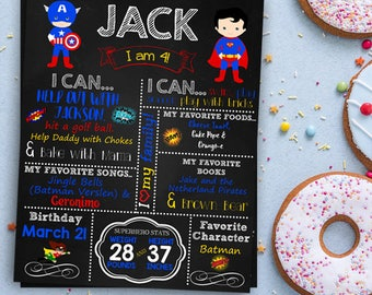 Super Hero Chalkboard Sign, Personalized and Printable, Superhero Birthday Chalkboard, Superhero Chalkboard Poster,  Superhero Birthday