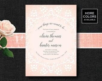 Lace Wedding Invitation, Damask Wedding Invitation, White Lace Wedding Invitation, White Wedding Invitation, White Floral Wedding Invite
