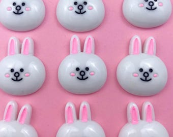 Kawaii Bunny Head Charm/Cabochon/Resin