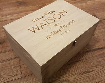 Personalised Wedding Memory Box, Wedding Keepsake Box, Wedding Gift, Mr and Mrs Gift, Engraved Memory Box, Memory Box, Keepsake Box