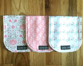 Burp Cloth Set of 3 Baby shower Gift Baby Burp Cloth Baby Girl Gift Trendy Burp cloth