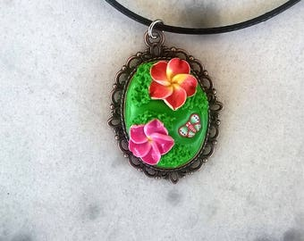Necklace/polymer clay/ flower/ butterfly/grass/spring/summer