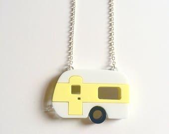 Caravan necklace acrylic necklace, laser cut plastic jewellery