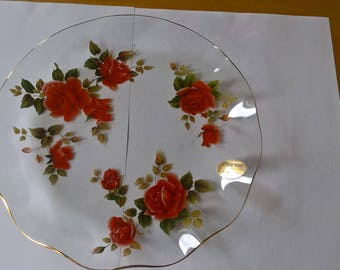 Beautiful Retro Chance Glass Plate with Red Roses