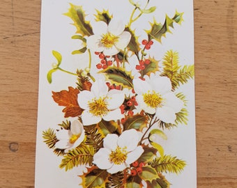 Small Vintage Christmas greetings card, brand new. 1970s, Christmas flowers & berries
