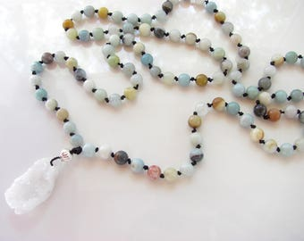Amazonite Gemstone Hand Knotted Necklace - Quartz Geode Pendant - Yoga Jewelry - Beaded Necklace - Long Length - Ready to Ship