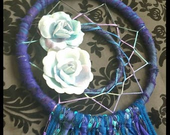 "6"" Royal Blue Floral Dreamcatcher / Home Decor / Wall Hanging / Baby Shower / FREE SHIPPING"