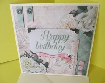 3D Roses white birthday card