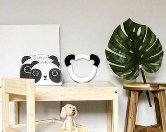 Little Lilibet Panda Head | Handmade Wall/Shelf Decoration | Unique and Fun Wool Art | Nursery/Child's bedroom