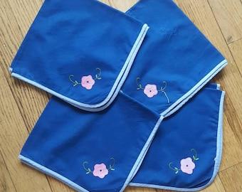 Set of 4 Vintage Cloth Napkins Blue with Pink Flower