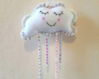 Hanging cloud decoration -Cloud with rain drops - Felt cloud decor - Cloud nursery decor