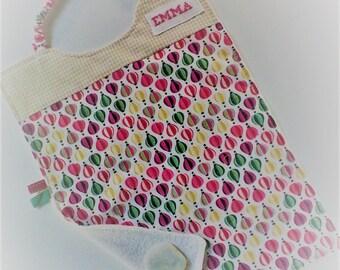 Serviette a élastique,personnalisable,serviette de cantine,fille coton et éponge .tons multicolores,tissu enfant  .