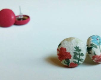 Button fabric earrings. Vintage style earrings