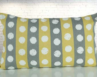 Yellow/grey striped Cushion cover, 50 x 30 cm