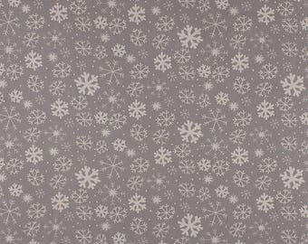 One Metre of Snowflake Soft Furnishing Fabric in Grey