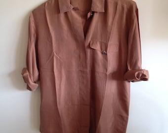 Silk shirt rusty orange brown copper 90s 80s Griff