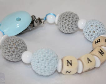 Wooden Dummy clip,Blue white Pacifier chain,wooden teether,baby holder toy,Beaded pacifier clip,Pacifier holderChewing beads