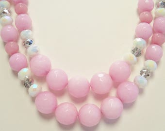 Pink Jade and Crystal Necklace, Multi Strand Necklace, Pink Jade Jewelry, Handmade, Pink Stone, White, Silver Crystal, Semiprecious, Beaded