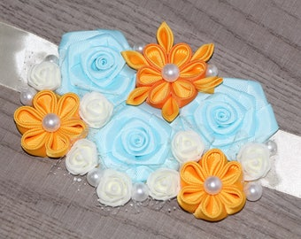 Blue and yellow Maternity Sash Baby Blue Pregnancy Sash Belly Belt Photo Prop Gift Blue Pastel blue Maternity Flower Sash Maternity dress