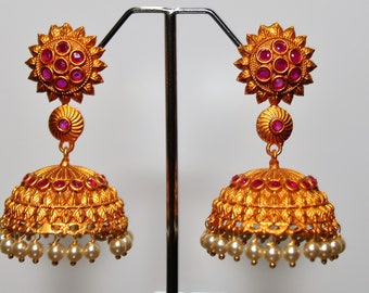 Gold Plated Jhumkis with Synthetic rubies and pearls