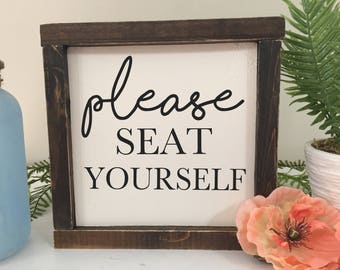 Please Seat Yourself, Bathroom Sign, Funny Wood Sign, Framed Wood Sign