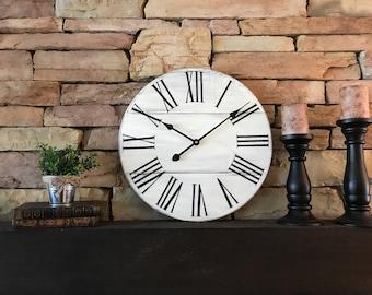 "18""Wall Clock, Farmhouse Clock, Rustic Clock, Antique Clock, Wall Clock"