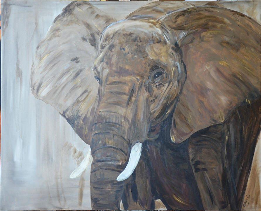 tableau animalier elephant d 39 afrique du sud. Black Bedroom Furniture Sets. Home Design Ideas