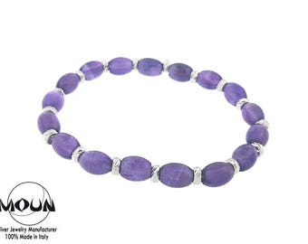 Silver charm bracelet with purple and hydrothermal beads. Must-have summer 2017!