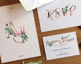 Annelise (Invitation + Info card + RSVP), The Luxe Floral Wedding set with Monogram and triple-layered paper