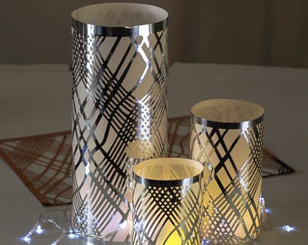 Silver Table Decoration,(PACK OF 3), Wedding Table Decoration, Foil Chic Design,