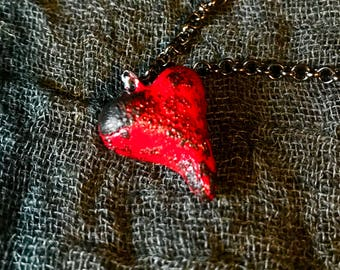 Miniature Heart Necklace (Red/Scorched)