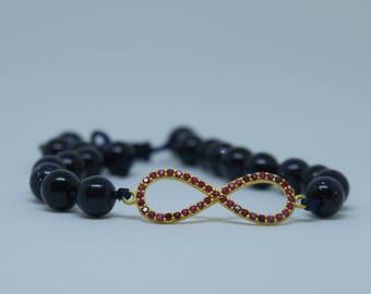 18K-Gold 'Infinity' Galaxite Beaded Bracelet // Dark Blue // Ruby Studded