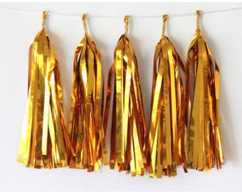 Gold Tassel Garland, New Years Tissue Tassel Garland, New Years Decor, Gold Banner, Black Tie Affair Wedding, Birthday Decor, Baby Shower