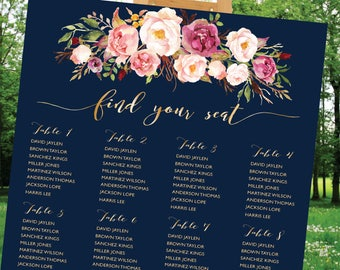 Wedding Seating Chart Template, Poster wedding seating chart, Wedding seating chart alphabet, Wedding Table seating, Navy seating chart, S85