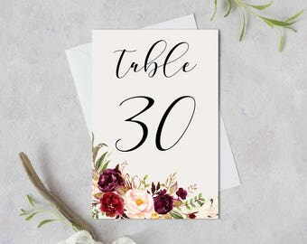 Wedding Table Numbers,Printable Table Numbers,Marsala Burgundy Table Numbers,Table Numbers Wedding,21-30,4x6,PDF Instant Download TN-024