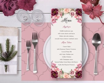 Floral Wedding Menu Marsala Burgundy Flowers Digital Printable Wedding Boho Long Menu Card Bohemian Food Bridal Wedding - WS030