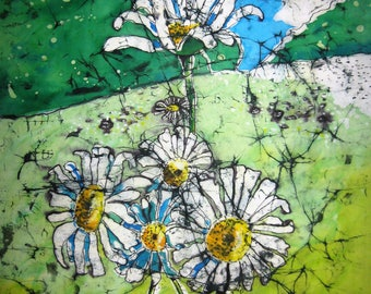 Daisy field - Print from an original batik 30 cm x 40 cm