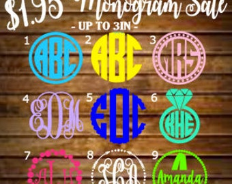 SALE - Monogram Decal/Monogram Sticker/Monogram Car Decal/Vinyl Decal/Vinyl Monogram/Yeti Decal/Car Decal/Laptop Decal/Yeti Cup Decal/Yeti