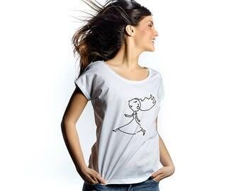 Walking on air womens quality cotton tshirt, original drawing printed tee, pencil sketch print, casual tshirt, hand drawn tshirt