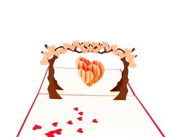 Heart Tree 3D Card, Valentine's Day Card, Love Card, Anniversary card, Pink Heart Love Card, Romantic Card, Love pop up card, love 3D card